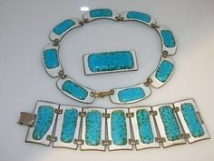 VINTAGE KAY DENNING ENAMELED NECKLACE BRACELET PIN SET (02/08/2012)