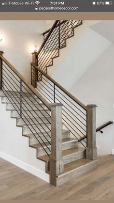 Let's talk stair railings! I love all four of these examples but sadly, I cannot do them all! So I need your help choosing which one is… renovation Staircase Indoor Stair Railing, Interior Stair Railing, Stair Railing Design, Iron Stair Railing, Staircase Railings, Bannister, Stairways, Farmhouse Stairs, Rustic Stairs