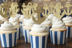 Inspiration for the mini cupcakes we had made for the cake charm pull Glitter Anchor Cupcakes. Nautical Theme Cupcakes, Anchor Cupcakes, Nautical Cake, Navy Bridal Shower, Nautical Bridal Showers, Gold Bridal Showers, Nautical Bachelorette Party, Nautical Party, Nautical Wedding
