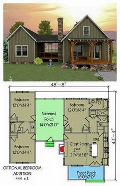 Open floor plan with screened porch. open floor plan with screened porch small house floor plans Dog Trot House Plans, Tiny House Plans, Dog Trot Floor Plans, Small Cabin Plans, Tiny Home Floor Plans, Unique Small House Plans, Cabin House Plans, Cottage Floor Plans, Shed To House
