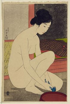 Woman bathing by Goyo Hashiguchi Japanese woodblock print