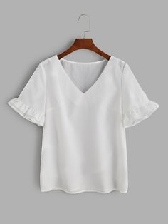 Shop White V Neck Frill Sleeve Top online. SheIn offers White V Neck Frill Sleeve Top & more to fit your fashionable needs.