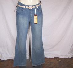 LEE One True Fit Sz 10 Blue Jeans Bootcut Close Fit Stretch Lower Waist Belt NWT #Lee #BootCut