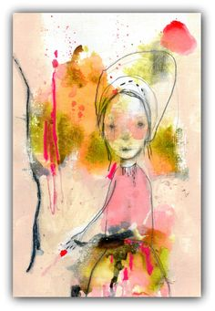 Original Drawing, Abstract Portrait,  Acrylic, Watercolor- Illustration Art  by Christina Romeo......Never Again by ChristinaRomeo on Etsy