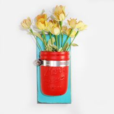 Sale- Wall Flower Vase- Island Aqua - Flirty Red Painted Jar- Cottage Chic- French Chic- Shabby- Country Decor- Choose From Many Colors on Etsy, $20.00
