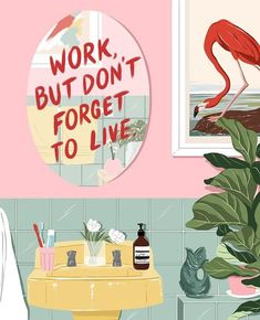 Reminder: Work, but don't forget to live 🌿Illustration by Pretty Words, Beautiful Words, Cool Words, Illustration Noel, Poster Art, Wow Art, Grafik Design, Oeuvre D'art, How Are You Feeling