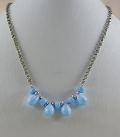 Baby Blue and Silver Teardrop Necklace with Bracelet and