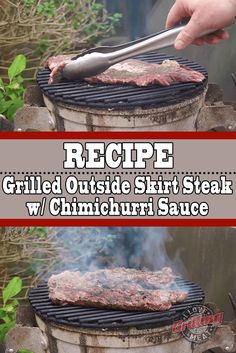 Grilled Outside Skirt Steak Recipe with Chimichurri Sauce Grilled Ribeye Steak Recipes, Steak Sandwich Recipes, Skirt Steak Recipes, Smoked Kielbasa Recipe, Guys Burgers Recipe, Chimichurri Sauce Recipe, Cheesesteak Recipe, Rib Meat, Sauce Recipes