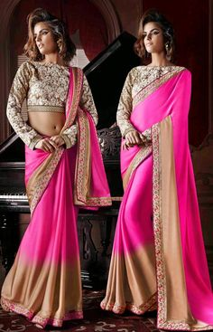 Ethnic Beige and #Pink Color #Indian Saree @ http://www.indiandesignershop.com/product/ethnic-beige-and-pink-color-indian-saree/