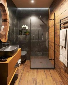 57 Modern bathroom that everyone should try this year - furnishings . - 57 Modern bathroom that everyone should try this year – Interior experts – Home interior design - Loft Bathroom, Dream Bathrooms, Small Bathroom, Master Bathroom, Wooden Bathroom, Coolest Bathrooms, Bathroom Black, Bathroom Goals, Industrial Bathroom