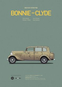 MINIMAL / Bonnie and Clyde: iconic cars from great films, posters by Jesús Prudencio http://carsandfilms.tumblr.com
