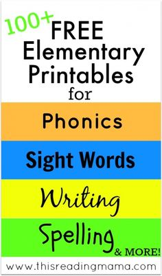 FREE Elementary Printables - Phonics, Sight Words, Writing, Spelling