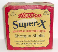 VINTAGE WESTERN 10 GA. SUPER X EMPTY SHOTGUN SHELL BOX