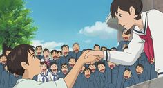 """the last film by studio ghibli """"from up on Poppy Hill"""" I think this scene was my favorite. Watching it with the Japanese international students was so much fun. Hayao Miyazaki, Studio Ghibli Films, Art Studio Ghibli, Film Anime, Anime Art, Totoro, Personajes Studio Ghibli, Up On Poppy Hill, Japon Illustration"""