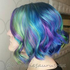rainbow neon hair dye ideas for short curls