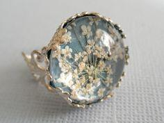 Victorian Filigree Pressed Flower Glass Ring