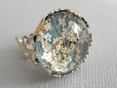 Victorian Filigree Pressed Flower Glass Ring