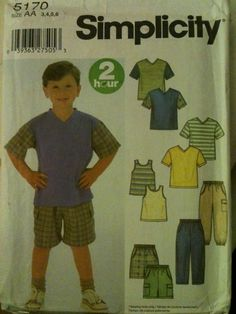 #Simplicity5170. Boys' tank top, t-shirt, shorts and pants, size 3-6. Looks to be from the 2000's.