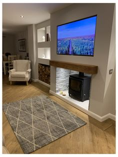 Alcove Ideas Living Room, Feature Wall Living Room, Living Room Grey, Home Living Room, Living Room Designs, Cottage Living Rooms, Room Ideas, Log Burner Living Room, Living Room Decor Fireplace