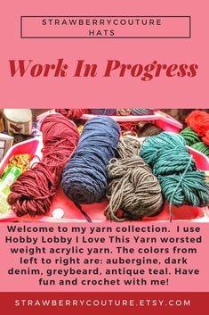 Welcome to my yarn collection. I use Hobby Lobby I Love This Yarn worsted weight acrylic yarn. The colors from left to right are: aubergine, dark denim, greybeard, antique teal. Have fun and crochet with me! Yarn For Sale, Look What I Made, I Love This Yarn, Modern Crochet, Gifts For Mum, Yarn Needle, Yarn Colors, Dark Denim, Crochet Yarn