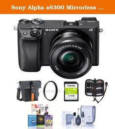 Sony Alpha a6300 Mirrorless Digital Camera Body with 16-50mm E-Mount Lens - Bundle with 16GB Class 10 SDHC Card, Holster Case, 40.5mm UV Filter, Cleaning Kit, Memory Wallet, Software Package. Sony introduces the latest addition to their award winning line-up of mirrorless cameras, the a6300. The camera boasts an unrivalled 4D FOCUS system that can lock focus on a subject in as little as 0.05 seconds, the world's fastest AF acquisition time. Additionally, the a6300 has an incredible 425…