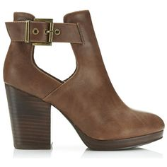 Miss Selfridge AMOUR Tan Cut Out Ankle Boots ($80) ❤ liked on Polyvore featuring shoes, boots, ankle booties, tan, tan boots, cut out buckle boots, short boots, faux leather booties and vegan ankle boots