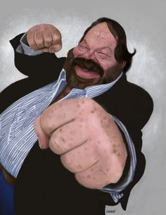 My sort of tribute to the big guy. I have to admit I never was a fan of their movies growing up because I always feel there was something off. This one is for Caricaturama Showdown but didn't get Bud Spencer, Terence Hill, Celebrity Caricatures, Big Guys, Cultura Pop, Animation Film, Community Art, Funny Pictures, Funny Pics