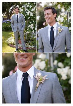grey and blue groom's wardrobe...OK if I ever get married.. this is what I'd like him to wear.. Andrew, looks good in grey!