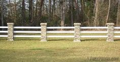 Image result for rock pillars wood fence