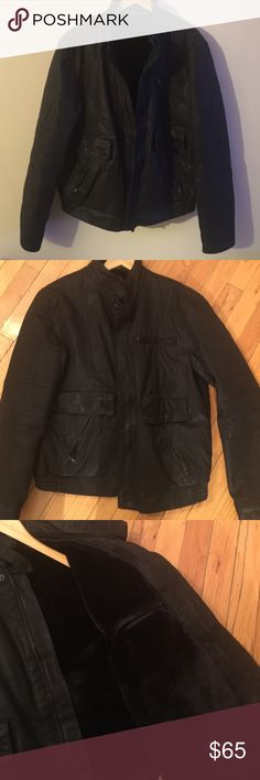 Armani exchange biker jacket 5 exterior pockets, 2 interior (one on each side). Very soft fur lining vest inside that is detachable (has buttons to remove and add). Great for the weather perfect to transition from winter into spring and fall into winter. Color is black. Good used condition no signs of wear. Nice weighted jacket. Size Large. All offers through offer button please. Armani Exchange Jackets & Coats