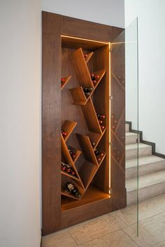 24 Moden Wall Wine Rack Designs For Classy Home Wine Rack Design, Wine Cellar Design, Wine Rack Wall, Wine Wall, Wine Shelves, Wine Storage, Home Wine Cellars, Home Bar Designs, Bars For Home