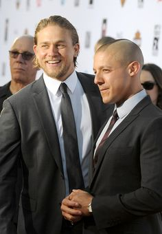 """Actors Charlie Hunnam (L) and Theo Rossi attend the season 6 premiere of FX's """"Sons Of Anarchy"""" at Dolby Theatre on September 7, 2013 in Hollywood, California."""