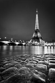 photography, paris, night, tour eiffel, black_&_white