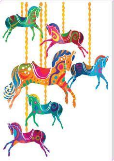 Carousel Horses Art Print by Louise Cunningham at King & McGaw Karussellpferde Kunstdruck von Louise Cunningham bei King & McGaw Art And Illustration, Illustrations, Art Scandinave, Rajasthani Art, Madhubani Art, Indian Folk Art, Indian Art Paintings, India Art, Carousel Horses