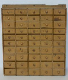 Early Country Store Hardware Cabinet Having 50 Small Drawers, Some Marked  With Sizes. 19th