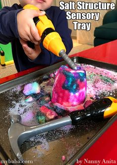 Turn salt structures into a sensory tray for toddlers to destroy. Sensory Activities, Infant Activities, Educational Activities, Activities For Kids, Sensory Bins, Sensory Play, Sand Play, Fun Things, Toddlers