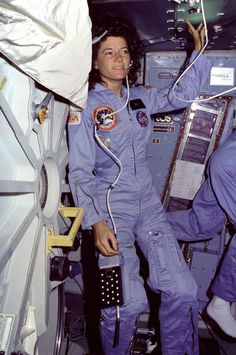Sally Ride on Shuttle Challenger's Middeck on STS-7 Mission