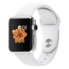 Apple Watch Smart Watch - Wrist - Optical Heart Rate Sensor, Accelerometer, Gyro Sensor, Ambient Light Sensor - Bluetooth - Bluetooth 4.0 - Wireless LAN - IEEE 802.11b/g/n - 18 Hour - 1.52 - 0.41 - 1.31 - White - Stainless Steel Case - Health & Fitne