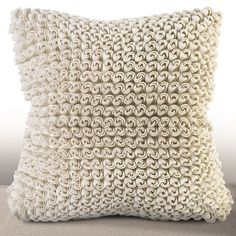 Chauran Madrygal Ivory Rosette Feather and Down Filled 18-inch Luxury Pillow