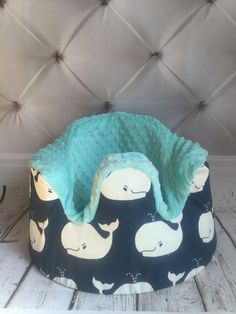 Whales with aqua minky Bumbo cover by LittleMissPBcup on Etsy