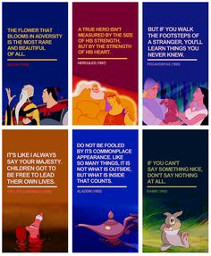 Disney Quotes Mulan, Hercules, Pocahontas, The Little Mermaid, Aladdin, and Bambi.