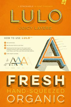 Lulo, a stackable 10-font typeface with textures and 3-dimensional layer effects.
