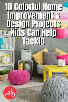 10 Colorful Home Improvement & Design Projects Kids Can Help Tackle - These beginner home improvement projects, you most likely already have the materials you need lying around, plus, they're so easy, kids of any age can lend a hand (or two). Fun Crafts For Kids, Projects For Kids, Design Projects, Activities For Kids, Making Memories, Home Improvement Projects, House Colors, Fun Ideas, Bean Bag Chair