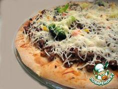 Тесто для тонкой пиццы (как Пицца Хат).       Молоко — 200 мл     Мука — 330 г     Масло оливковое — 2 ст. л.     Дрожжи (сухие) — 7 г     Соль — 0,5 ч. л.     Сахар — 2 ч. л.