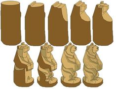 Whittling step by step bear carving Wood Carving Designs, Wood Carving Patterns, Wood Carving Art, Carving Tools, Wood Patterns, Carving Board, Whittling Patterns, Whittling Projects, Whittling Wood