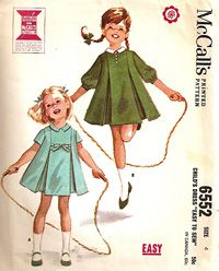 Vintage our of print collectible still usable old sewing patterns from to 2000 era for sale. Vintage Kids Clothes, Vintage Girls Dresses, Vintage Dress Patterns, Vintage Children, Vintage Outfits, Childrens Sewing Patterns, Kids Patterns, Mccalls Patterns, 60s Fashion Trends