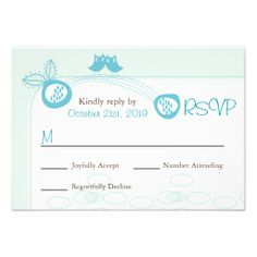 Whimsical Blue Owls In Love Wedding RSVP Card Invitations