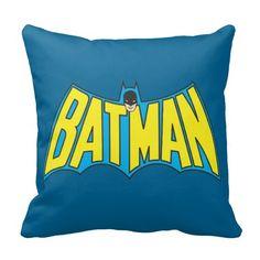 Batman | Vintage Yellow Blue Logo Throw Pillow