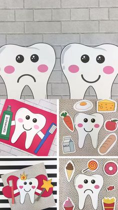 Dental health crafts for preschoolers, kindergartners and older kids to make for dental health month : tooth craft, tooth fairy craft and happy tooth sad tooth sorting activity game. Use the tooth template for preschool and kindergarten. Halloween Crafts For Toddlers, Toddler Crafts, Crafts For Kids, Health Activities, Kids Learning Activities, Teaching Kids, Tooth Template, Preschool Arts And Crafts, Dental Kids
