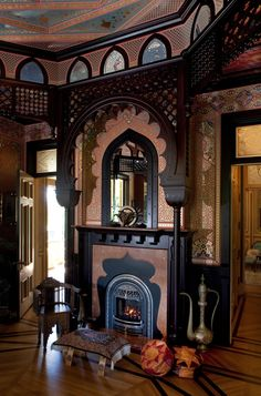 Rynerson OBrien Architecture, Inc.: The McDonald Mansions Formal Rooms Ornate fireplace, pink marble? Gingerbread dark wood detailing, inlaid floors, and ornate wallpaper? Victorian Interiors, Vintage Interiors, Victorian Homes, Victorian Decor, Victorian Gothic, Architecture Design, Gothic Architecture, Classical Architecture, Foyers